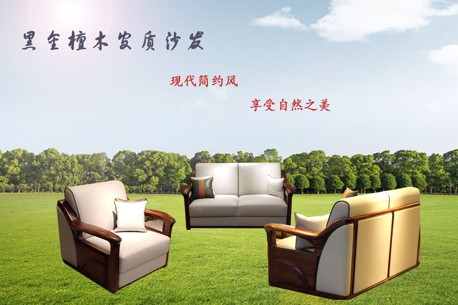 黑金檀木现代简约风沙发让您享受自然生活