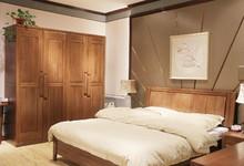 光明家具现代中式榆木大床特价6080元
